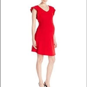 Maternal America Red Flutter Sleeve Cocktail Dress
